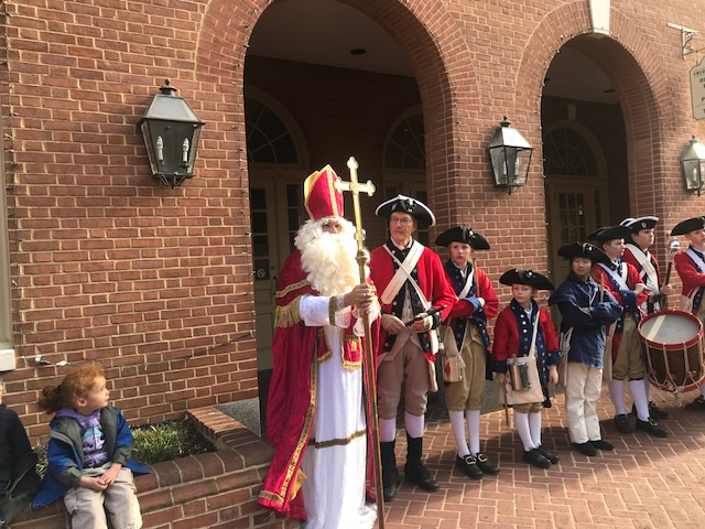 St. Nick on Market St with fife and drum corp